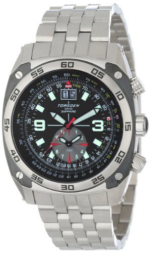 Torgoen Swiss Men's T07201 Pilot Computer Dual-Time Zone Stainless Steel Watch