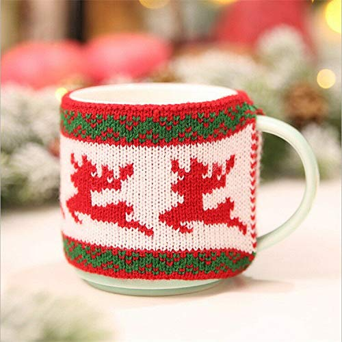 Xmas Tree Snowflake Elk Knitted Wooden Cup Cover Mug Covers Christmas Decoration (Pattern - Elk)