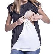 Breastfeeding Tops for Women,Keliay Maternity Nursing Wrap Cap Sleeves Double Layer Blouse T Shirt (XL, Dark Gray)