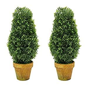 VIMI Small Artificial Plants And Mini Trees , Decor Bonsai For Home , Indoor  And Outdoor Decorations , Green Tower , 11 Inch , Set Of 2