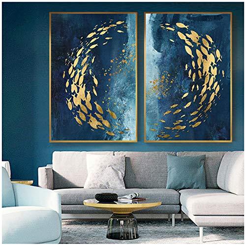 SRDFDF Pintura de Lienzo de Peces Dorados Abstractos Cartel Azul Grande Arte de Pared Sala de Estar Pasillo Cuadro de Oro Cuadro 80x120 cm sin Marco