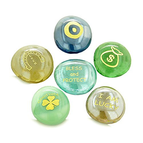 - Inspirational Amulets Good Luck Charms Protection Blessing Glass Engraved Stones