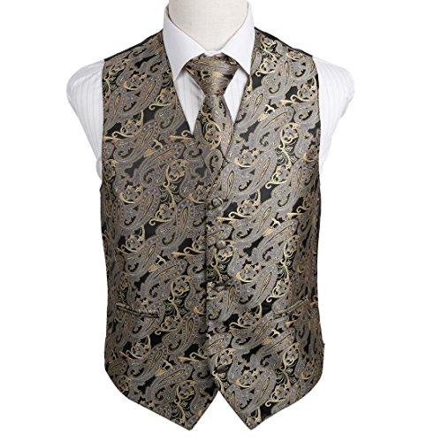 EGD2B02A-L Grey Beige Marriage Paisley Microfiber Dress Tuxedo Vest Neck Tie Set Friendship Family By Epoint