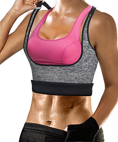 (Womens Shapewear Weight Loss Neoprene Sauna Sweat Waist Trainer Corset Tank Top Vest Sport Workout Slimming Body Shaper (Grey(Adjustable Straps Vest), L(US 14)))