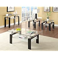 702287 Occasional Group 702280 End Table with Tempered Glass Top Metal Legs and Frosted Glass Shelf in Black Finish