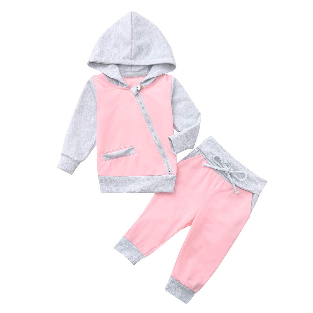 2PCS Fashion Infant Toddler Baby Boys Girls Clothes Set Zipper Hooded Tops+Pants Outfits