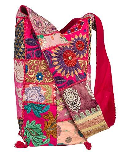 Tribe Azure Women Fashion Hobo Floral Shoulder Bag Monk Style Canvas Sling Tote Handbag Crossbody Roomy Summer Spring Chic (Pink)