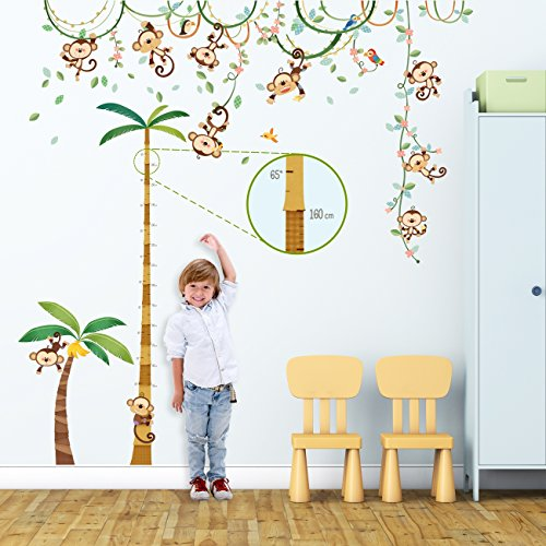 Decowall DA-1507P1607 Monkey on Vine and Height Chart Kids Wall Decals Wall Stickers Peel and Stick Removable Wall Stickers for Kids Nursery Bedroom Living Room by Decowall