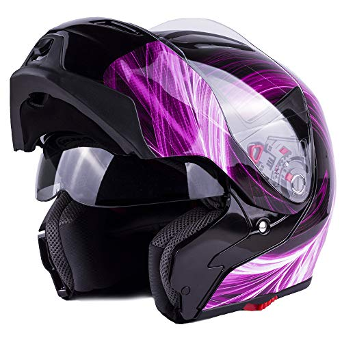 Typhoon Women's Modular Full Face Motorcycle Helmet - Street Bike Flip-Up Dual Visor DOT (Pink XXL)
