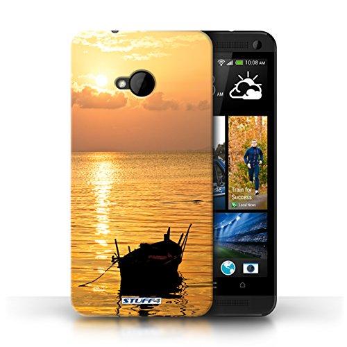Etui pour HTC One/1 M7 / Bateau de pêche conception / Collection de Coucher du Soleil