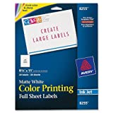 Avery Color Printing Labels for Inkjet Printers, Matte White, 8.5 x 11 Inch, Pack of 20  (8255)
