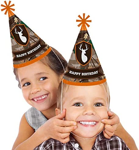 Gone Hunting - Cone Happy Birthday Party Hats for Kids and Adults - Set of 8 (Standard Size)