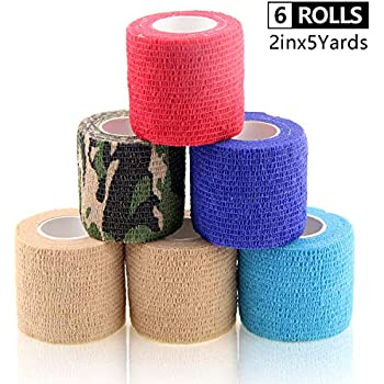 AUPCON Vet Wrap Cohesive Bandages Bulk Self Adhesive Bandage Wrap Self Adherent Wrap Non-Woven for Dogs Pet Animals & Ankle Sprains & Swelling 2 Inch x 5 Yards