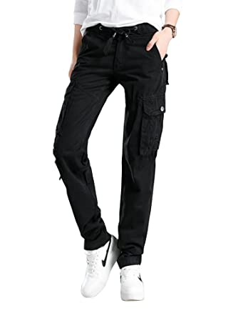 uk store best selling how to get Women's Casual Drawstring Elastic Waist Straight Leg Multi Pockets Cargo  Pants