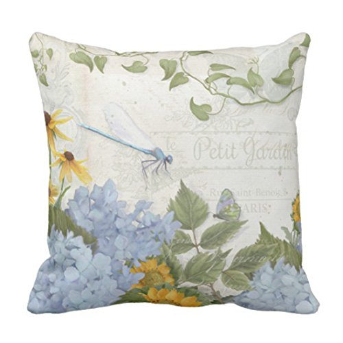 Emvency Throw Pillow Cover Blue Country French Farmhouse Vintage Floral Brown Chic Decorative Pillow Case Home Decor Square 18 x 18 Inch Pillowcase