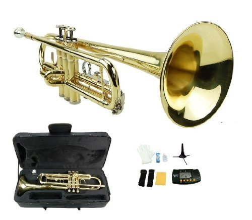 Merano B Flat GOLD / Silver Trumpet with Case+Mouth Piece+Valve Oil+Metro Tuner+Stand by Merano