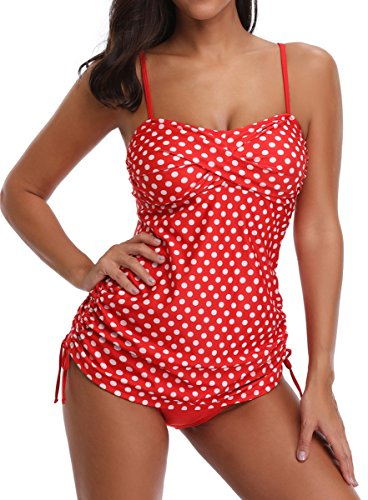 WOOSEN Womens Swimsuit Tankini Stretchy 2 Piece Bathing Suits Bikini Set, Red/White Polka Dots, (All Sexy Bikinis Polka Dots Bikini)