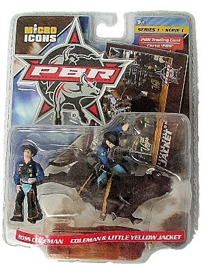 Ross Coleman & Little Yellow Jacket Action Figures - PBR Professional Bull Riders Micro Icons Series 1 with 14 PBR Trading (Pbr Bull)