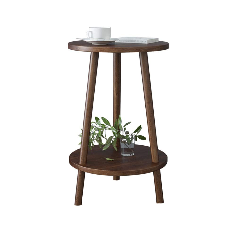 LJHA bianzhuo End Table, Solid Wood Small Round Table Coffee SideTable Dining Table Small Tea Table for Living Room Bedroom Balcony, Double Storey Bedside Tables (Color : D, Size : 40x60cm) by GYH End Table