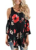 Alvaq Women Summer Casual 3 4 Long Sleeve Sexy Ladies V Neck Cold Shoulder Floral Top Plus Size Blouses Tunic Black