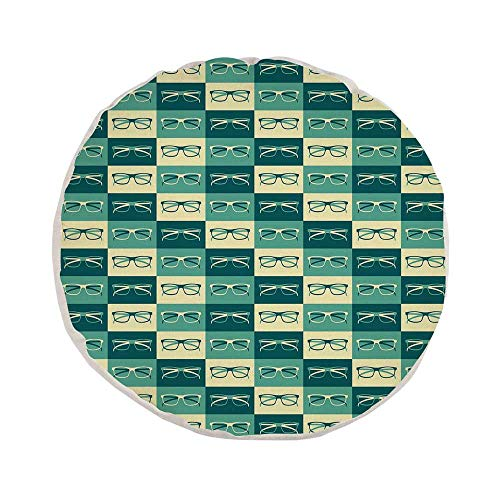 Indie Stylish Round Throw Pillow,Pattern with Eyeglasses in Vintage Style Hipster Cool Collection Decorative for Bedroom Living Room,Pillow Case: 17.7