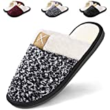 Women's Cozy Durable Slippers,Fuzzy Wool-Like Plush Fleece Lined House Shoes w/Indoor,Outdoor Anti-Skid Rubber Sole Black White