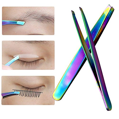 beBettform Fashion Makeup Angled Brow Trimmer Colorful Eyebrow Clip False Eyelash Tweezers Face Hair Removal