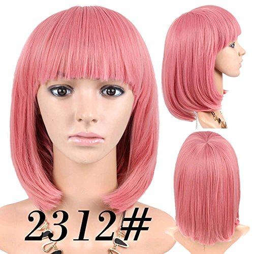 Cheap Short Bob Wig Pink Color #2312 With
