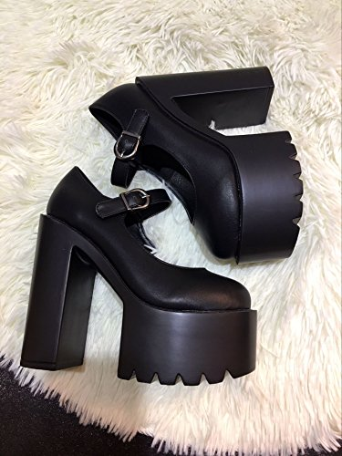 LvYuan Tacones moda zapatos Carrera Plataforma Chunky amp; Charol Oficina Walking Tacón Buckle CN38 Black Mujer BBwxgHAr