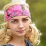 Pink Camo Headband - Non Slip Stretch Camouflage Headband
