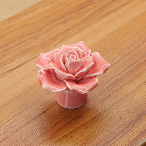 (Ceramic Rose Flower Fashion Knobs Drawer Cupboard Door Porcelain Pull Handle - Pink)