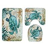 Sothread 3PC/Set Non-Slip Sea Turtle Octopus Printed Mat U pad+Lid Toilet Cover+Bath Mat Pad (Sea turtle)
