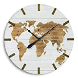 Whole House Worlds The World Map Clock, Over 2 Ft in Diameter, Rustic Modern Style, Incised Natural Wood, White Shiplap Planks, Battery Operated, 29 Inches in Diameter, Requires 1 AA Battery, By