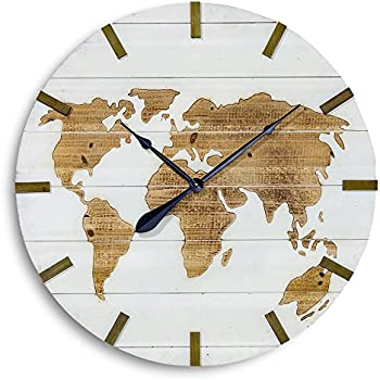 Amazon whole house worlds the world map clock over 2 ft in whole house worlds the world map clock over 2 ft in diameter rustic modern gumiabroncs Image collections