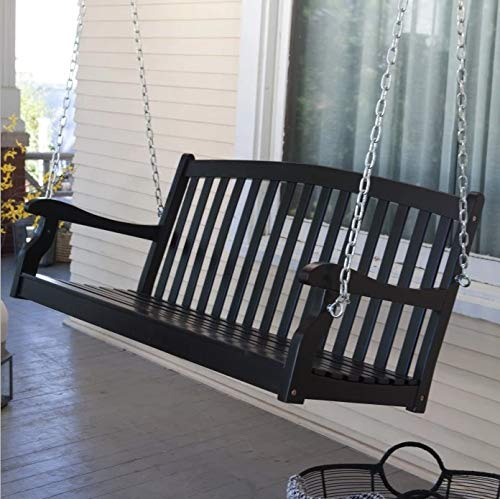 Country Manor Farmhouse 48 Inch Black Wood Porch Swing Outdoor Garden Patio Furniture 2 Person Includes Hanging Chains
