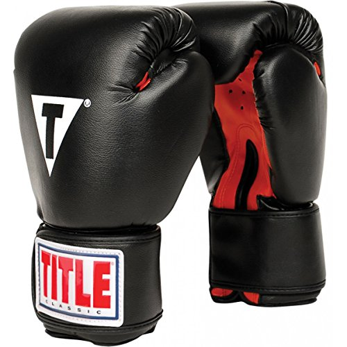 TITLE Classic Boxing Gloves, Black/Red, Large, 14 oz