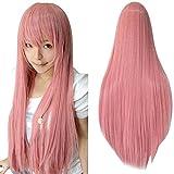 ZyrunaeL Wigs 80cm Long Straight Anime Fashion Women's Cosplay Wig Party Wig (80cm, Pink)