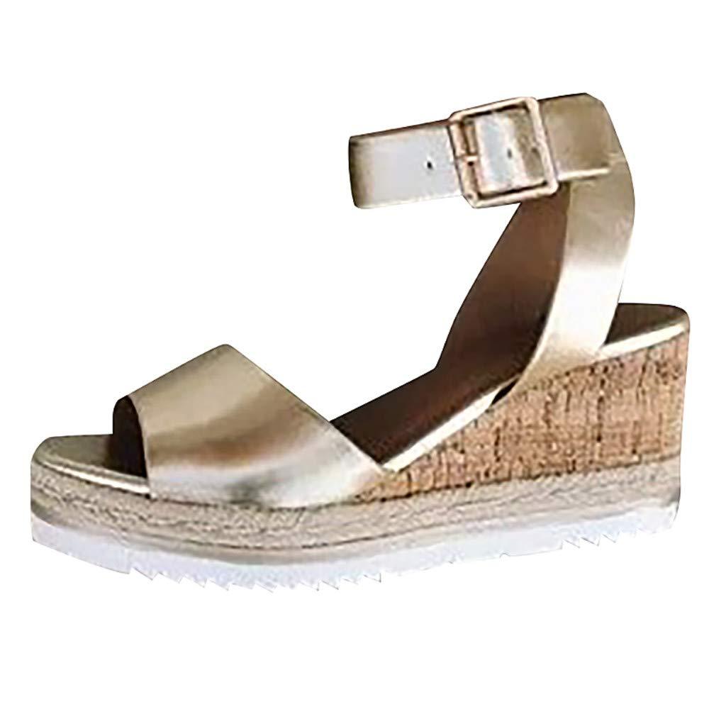 Womens Platform Wedges Sandals - Retro Classic Peep Toe Ankle Buckle-Strap Ladies Roman Sandals (Gold, 225mm-US:5)