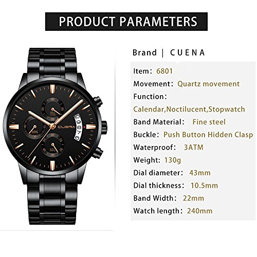 CUENA Men Stainless Steel Quartz Watches Military Waterproof Sport Classic Business Wristwatch for Gifts