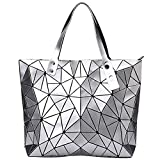 Womens Geometric Large Tote Bag Leather Purse Fashion Lightweight Glossy Ladies Top Handle