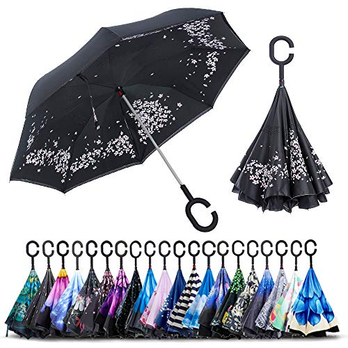 Sakura Spring - ZOMAKE Double Layer Inverted Umbrella Cars Reverse Umbrella, UV Protection Windproof Large Straight Umbrella for Car Rain Outdoor With C-Shaped Handle