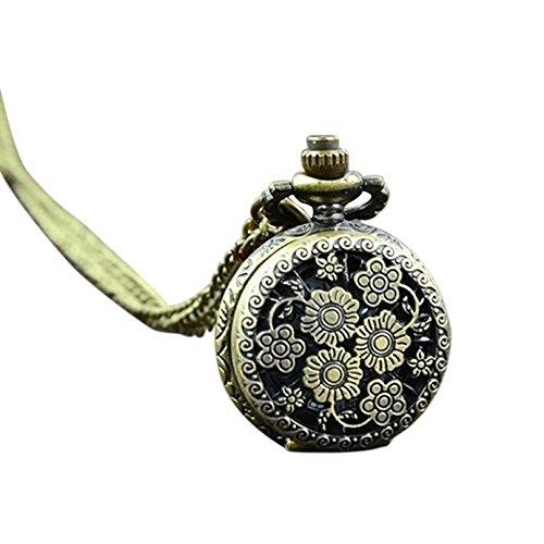 Pocket Watch Opeof Retro Vintage Steampunk Quartz Necklace Carving Pendant Chain Clock Pocket Watch - Flower