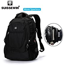 SUISSEWIN Laptop Backpack Up to 17 Inch Notebook Computer for Women Men Water Resistant Business Computer Backpacks Laptop Travel Bag Lightweight College Students Notebook Backpack,Black(SN9825)