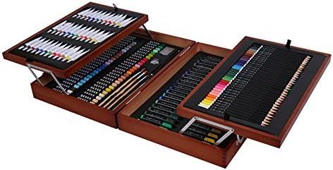 水彩毛筆 カラー筆ペン すべてのレベルの画家のための適切な児童画174セットの木製アート用品ギフトボックスセットツールボックス水彩ペン 画材 スケッチブックイラスト