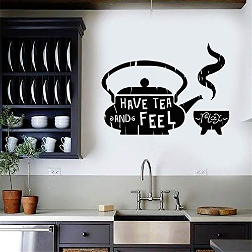 wuenan Wall Sticker Lettering Quotes and Saying Classic Home Decor for Kitchen Tea Teapot Cafe for Teahouse Restaurant