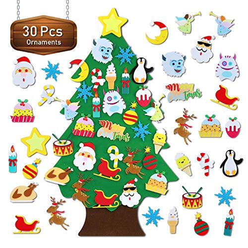 TOBEHIGHER Felt Christmas Tree - 3.1 FT Wall Felt Christmas Tree for Kids with 30 pcs Ornaments, DIY Xmas Gifts for Christmas Decorations (Cheap Christmas Diy Gifts)