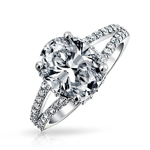 3 5ct Sterling Silver Cz Oval Engagement Ring Amazon Com
