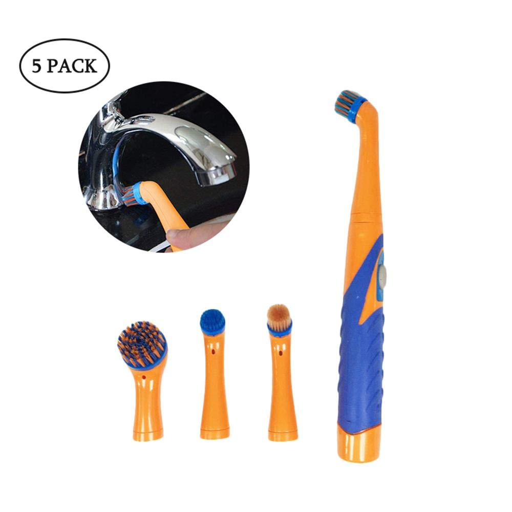 leegoal Ultrasonic Electric Cleaning Brush, Super Sonic Scrubber Cleaner with Household All Purpose 5 Brush Heads Dirt Oil Dust Cleaner