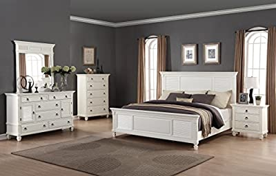 Roundhill Furniture Regitina 016 Bedroom Furniture Set, King Bed, Dresser, Mirror, Nightstand and Chest, White-P