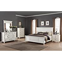 Roundhill Furniture Regitina 016 Bedroom Furniture Set, King Bed, Dresser, Mirror, Nightstand and Chest, White